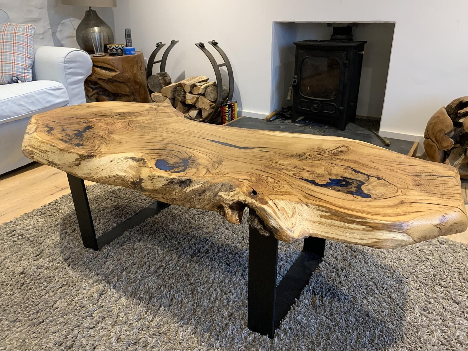 Sold Live Edge Oak Epoxy Resin Coffee Table Raw Wood Coffee Table Wood Coffee Table Living Room Wood Coffe Table [ 1191 x 1588 Pixel ]