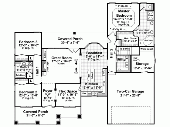 One Story House Plans 1800 Sq Ft Bungalow Style House Plans Craftsman Style House Plans House Plan Gallery