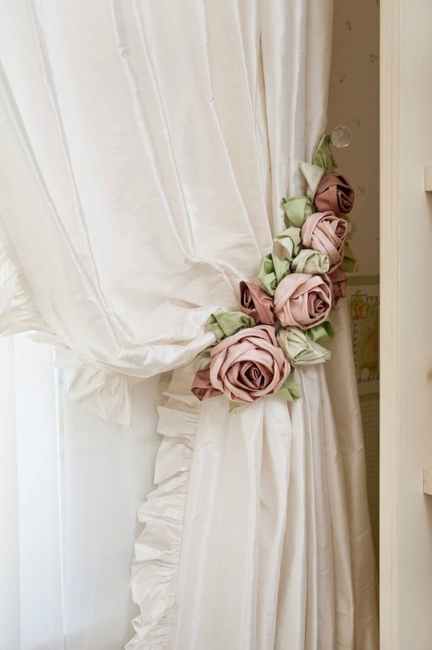 DIY Shabby Chic Decor Ideas - Shabby Chic Rose Curtain Tie Backs - French Farmhouse and Vintage White Linens - Bedroom Living Room Bathroom Ideas Distressed Furniture and Boho Crafts - Cheap Dollar Store Projects and Upcycle Repurposed Home Decor diyjoy.com/... #style #shopping #styles #outfit #pretty #girl #girls #beauty #beautiful #me #cute #stylish #photooftheday #swag #dress #shoes #diy #design #fashion #homedecor