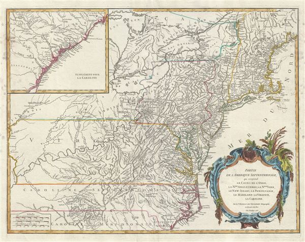 1755 French Map Of Ohio New England La New York New Jersey