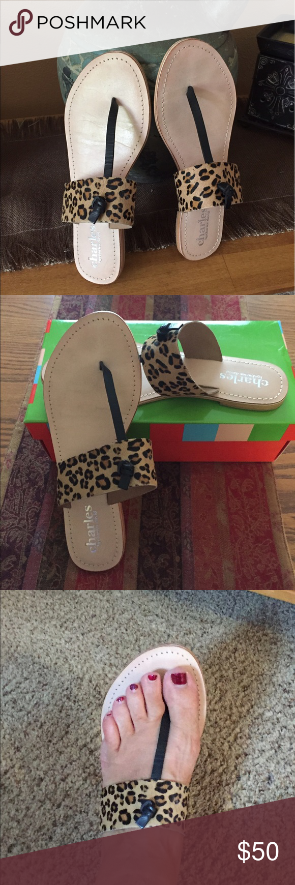 Charles by Charles David 'Vega' Sandals All leather Charles by Charles David 'Vega' flip flop sandals. Leopard/Black. Like new in box, only worn around my house. Charles David Shoes Sandals