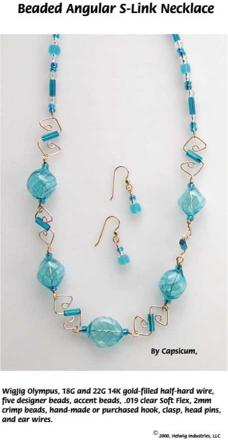 Beaded Angular SLink Wire Necklace made with WigJig jewlery making