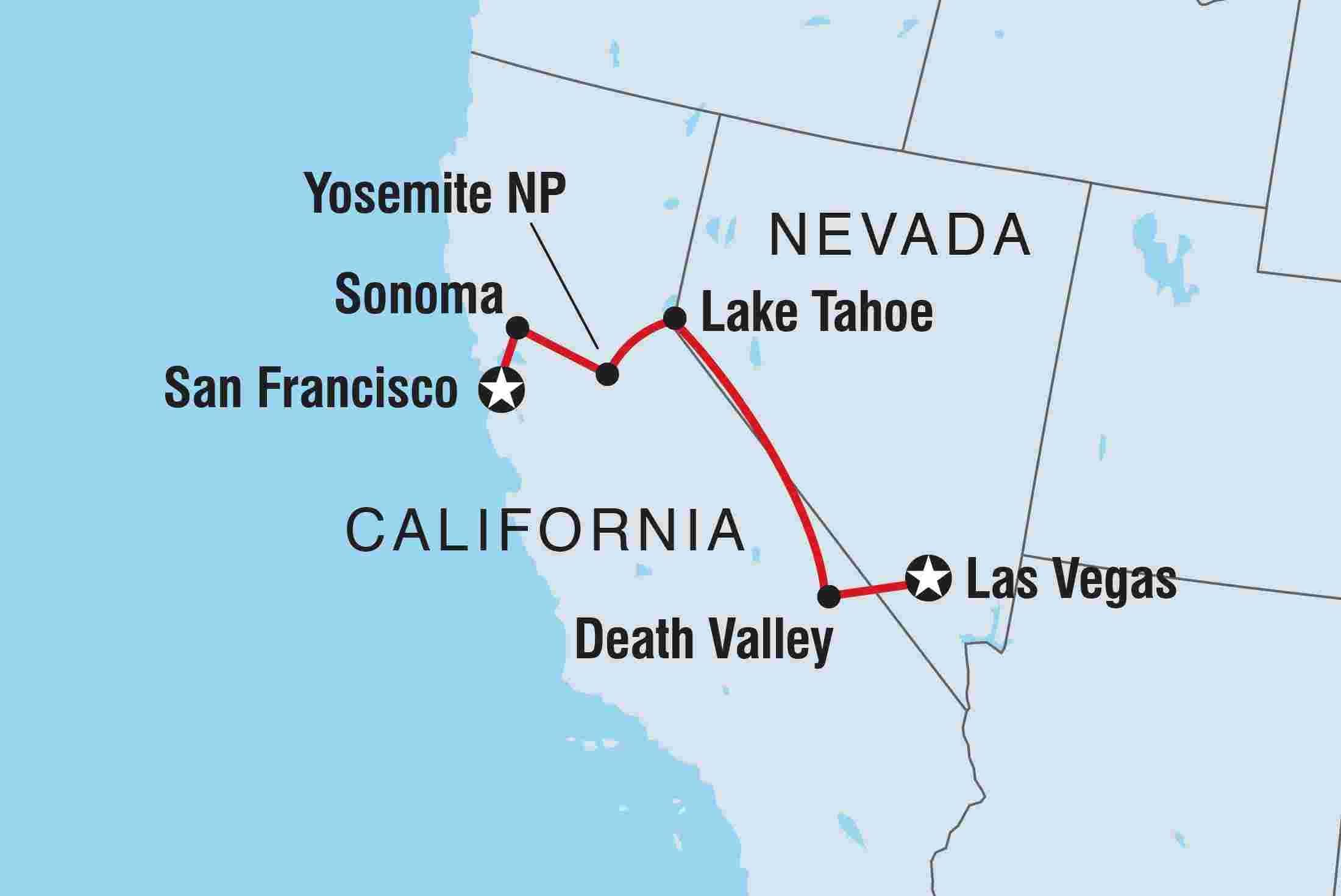Map of San Francisco to Las Vegas including United States ...