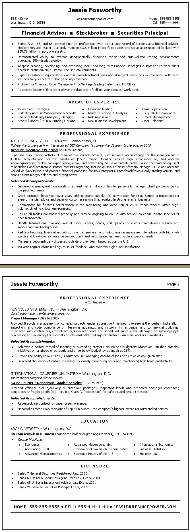 Financial Advisor Resume Example Elegant Finance Resume