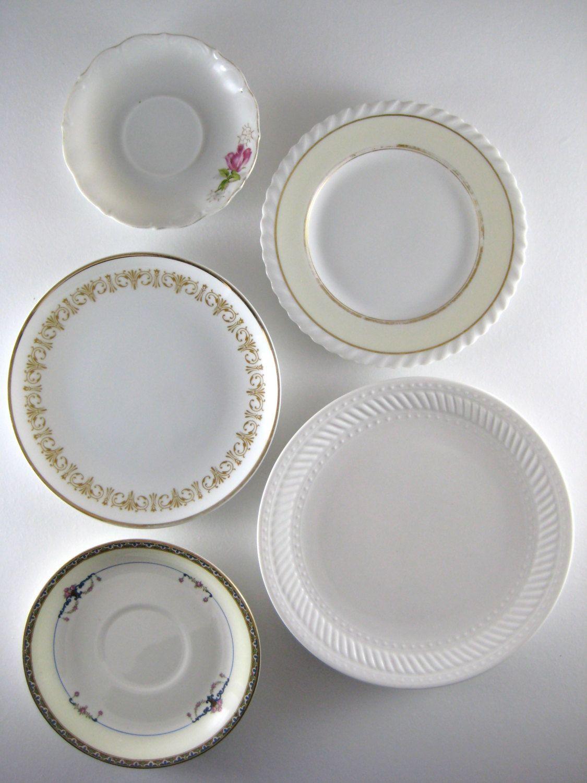Set of 5 Set of Five Decorative Plates Mismatched Plates Vintage ...