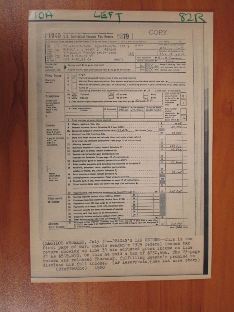 Ebay Sponsored Vtg Ap Wire Press Photo President Ronald Reagan 79 Federal Income Tax Return 1 Income Tax Return Federal Income Tax Income Tax