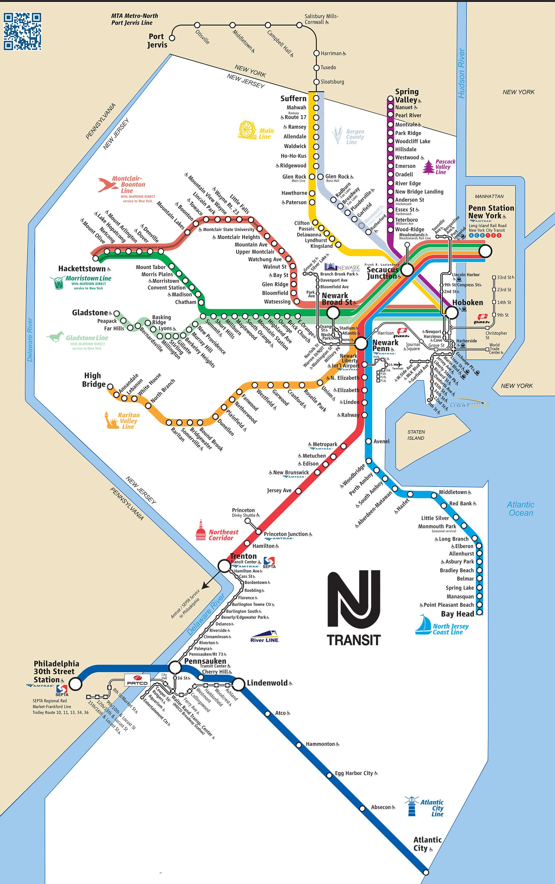 Map Of New Jersey Transist Rail Network Nj Transit Map Transit Map Train Map