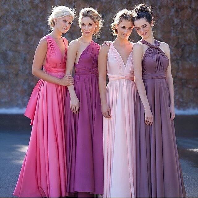 Eliza & Ethan multiway wrap bridesmaids dress in navy pink neutral ...