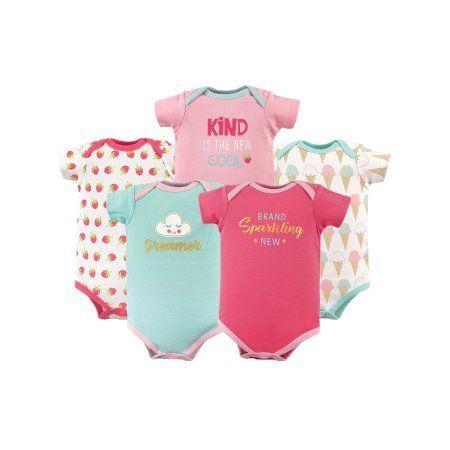387fd43f7 Basics Baby Girl Bodysuit Set, 5-pack, Size: 6 - 9 Months, Multicolor
