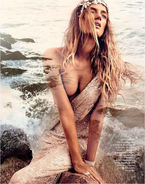 Lily Donaldson by Alexi Lubomirski for Vogue Spain (May 2012). Ralph Lauren Collection dress.