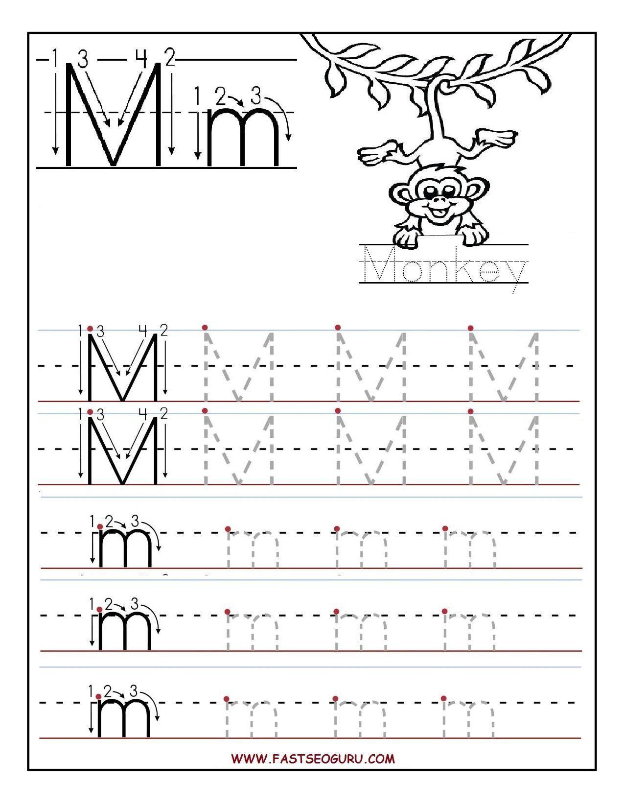 Printable Letter M Tracing Worksheets For Preschool Bobbi