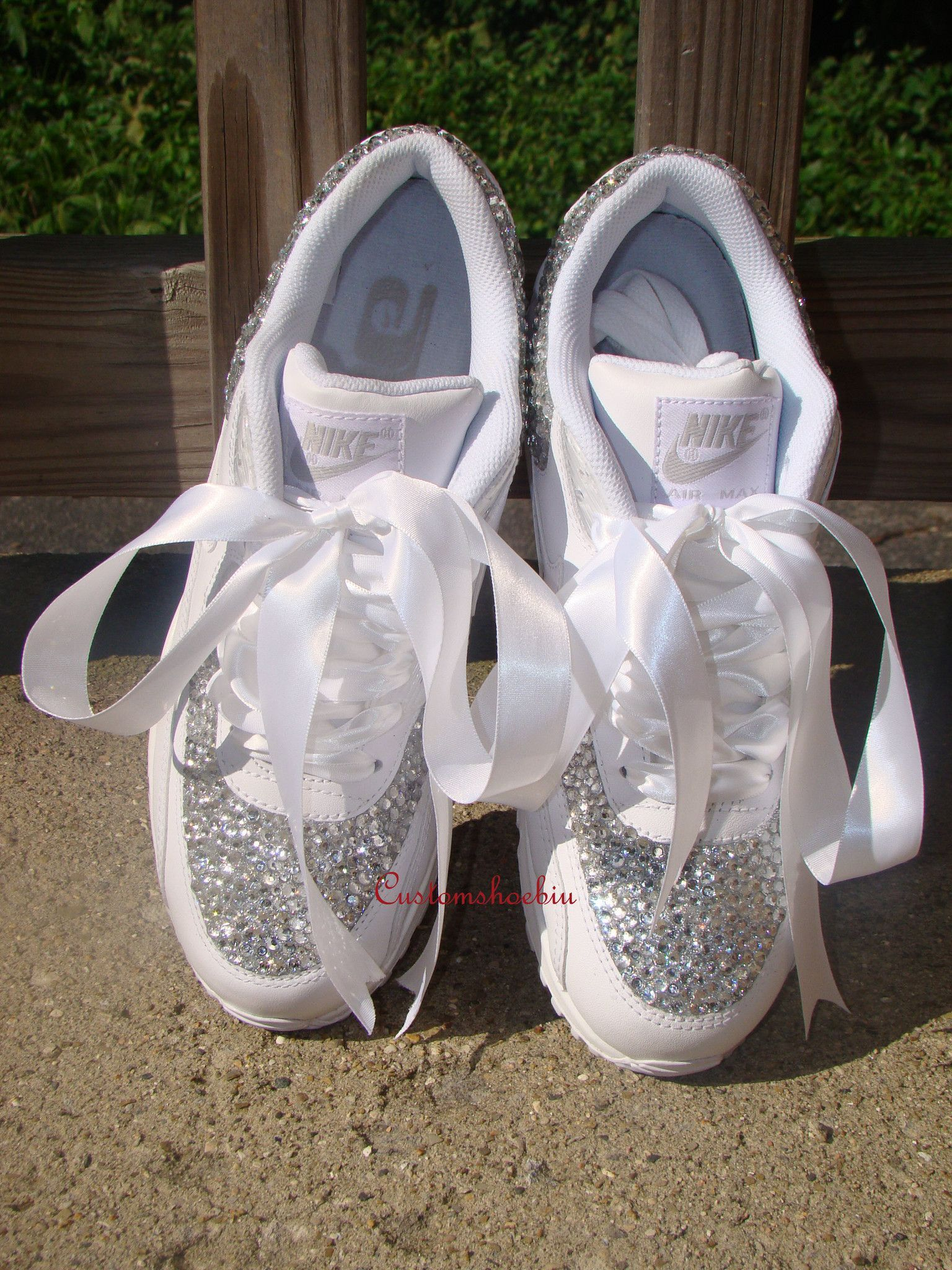 Custom Bling Rhinestone Nike Air Max 90 with White Ribbon ebc9faa65