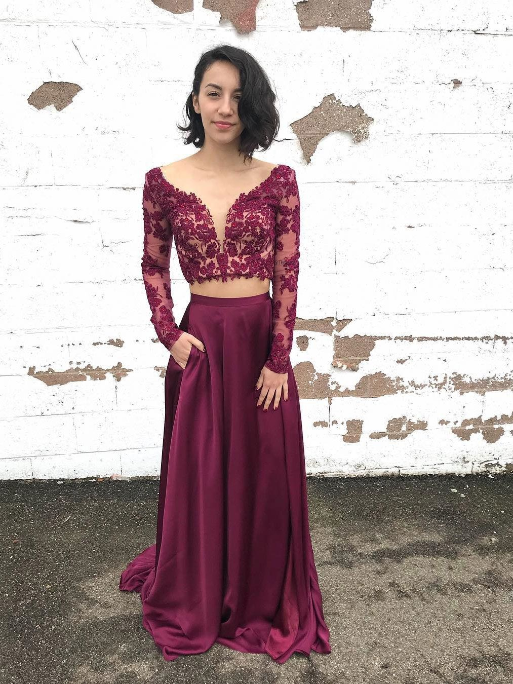 32054a2a37 Long Sleeve Two Piece Lace Prom Dresses Purple See Through Beaded Formal  Dresses  eveningdresses  eveninggowns  formaleveningdresses  promdresses   ballgowns ...
