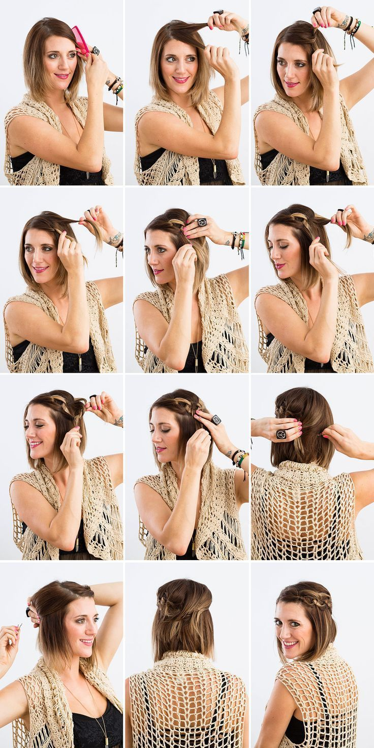 Easy updos for short hair step by step easy hairstyles pinterest