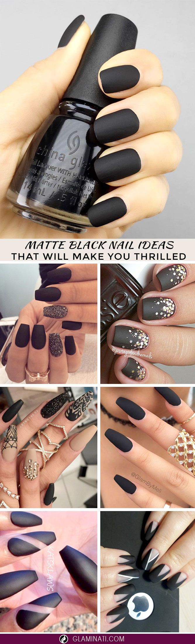 21 Matte Black Nails That Will Make You Thrilled | Pinterest ...