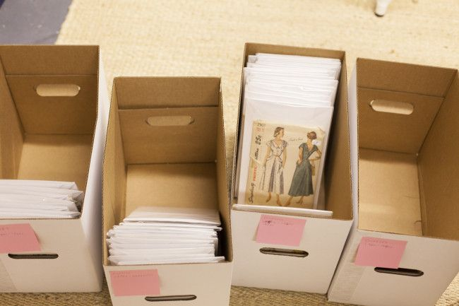 sewing pattern organization using comic book boxes/sleeves, plus ...