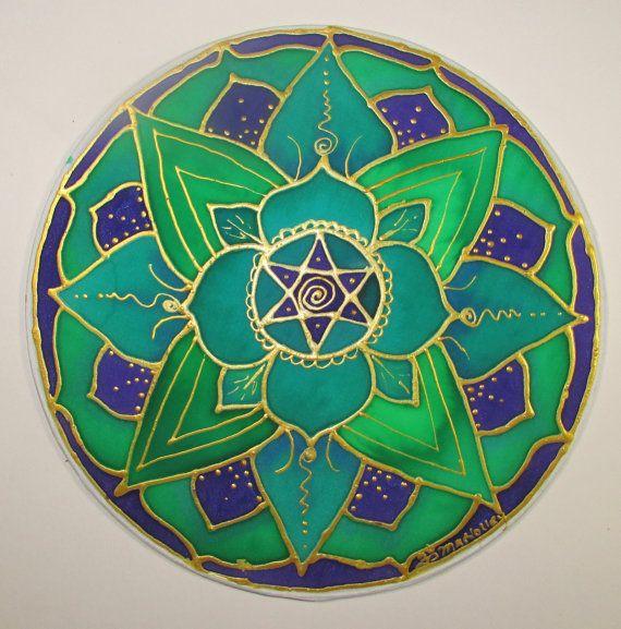 Corazón Chakra Mandala arte de loto chakra arte por HeavenOnEarthSilks,