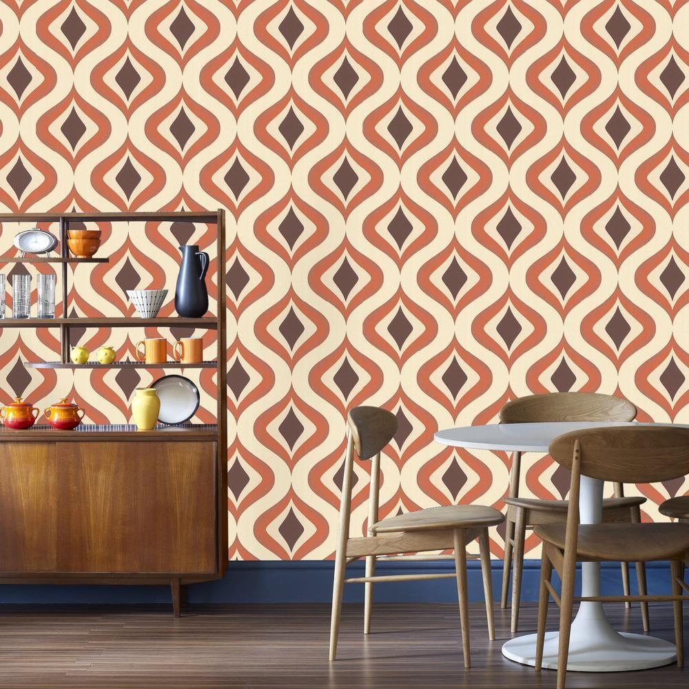 Graham & Brown Trippy Orange Removable Wallpaper 15195 In