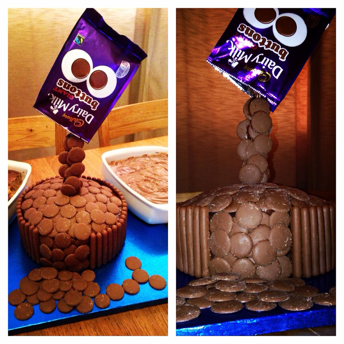 Gravity Defying Cadbury Buttons Chocolate Cake