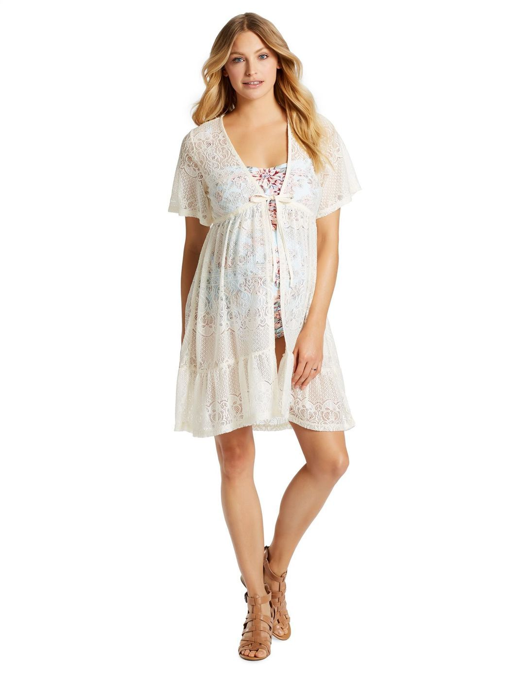 jessica simpson crochet detail maternity swim coverup