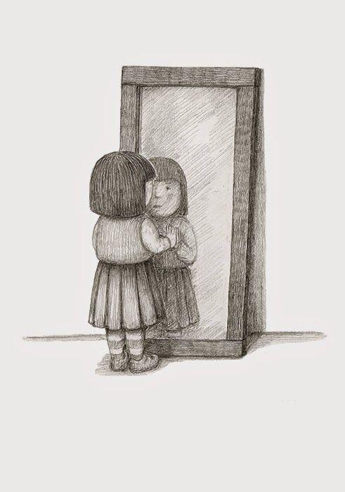 Girl looking in mirror drawing google search wattpad for Mirror drawing
