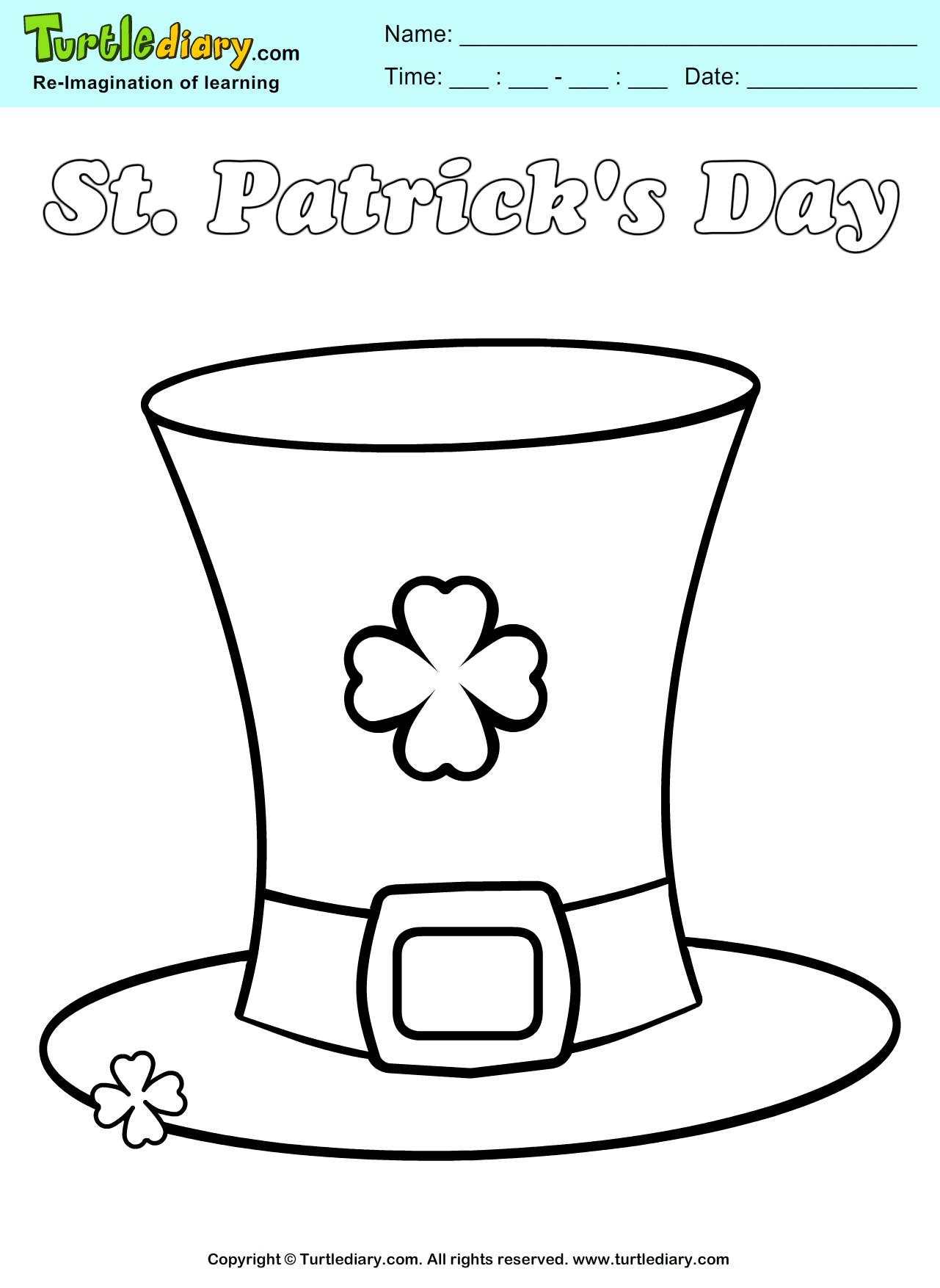 St. Patrick\'s Day Leprechaun Hat Coloring Page. #ChildEducation ...