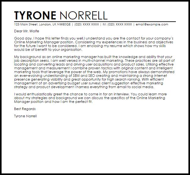 Cover Letter Template Digital Marketing | Career | Marketing ...