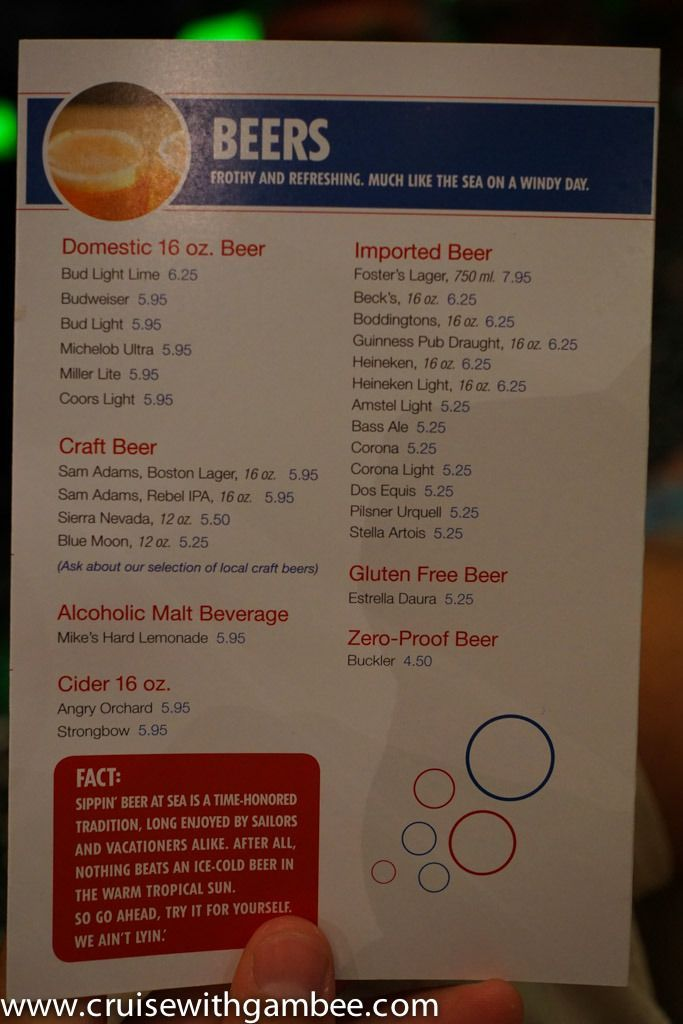 Carnival Cruise Line Drink Prices – cruise with gambee in ...