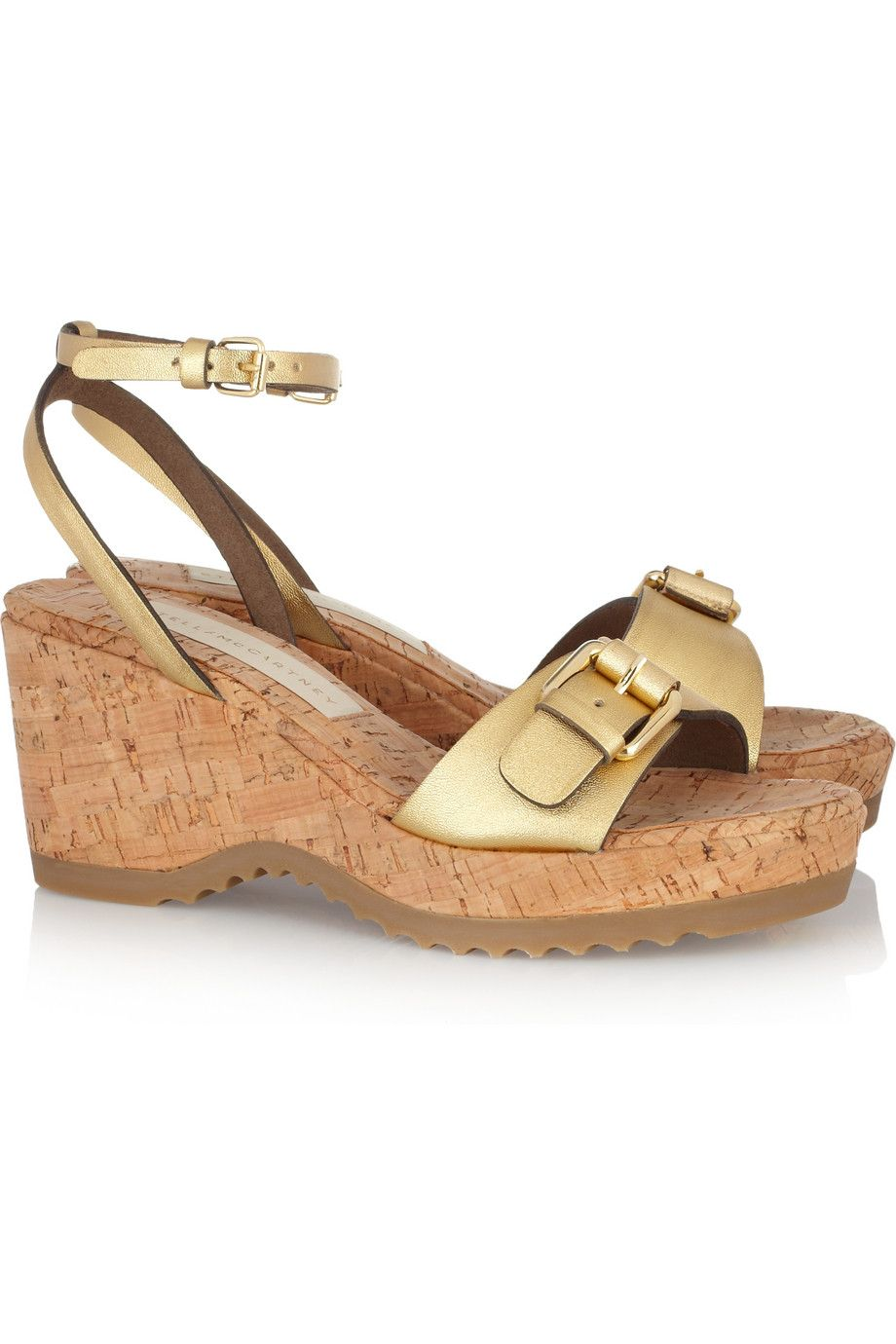 6e26a8b34 STELLA MCCARTNEY Metallic faux leather and cork wedge sandals