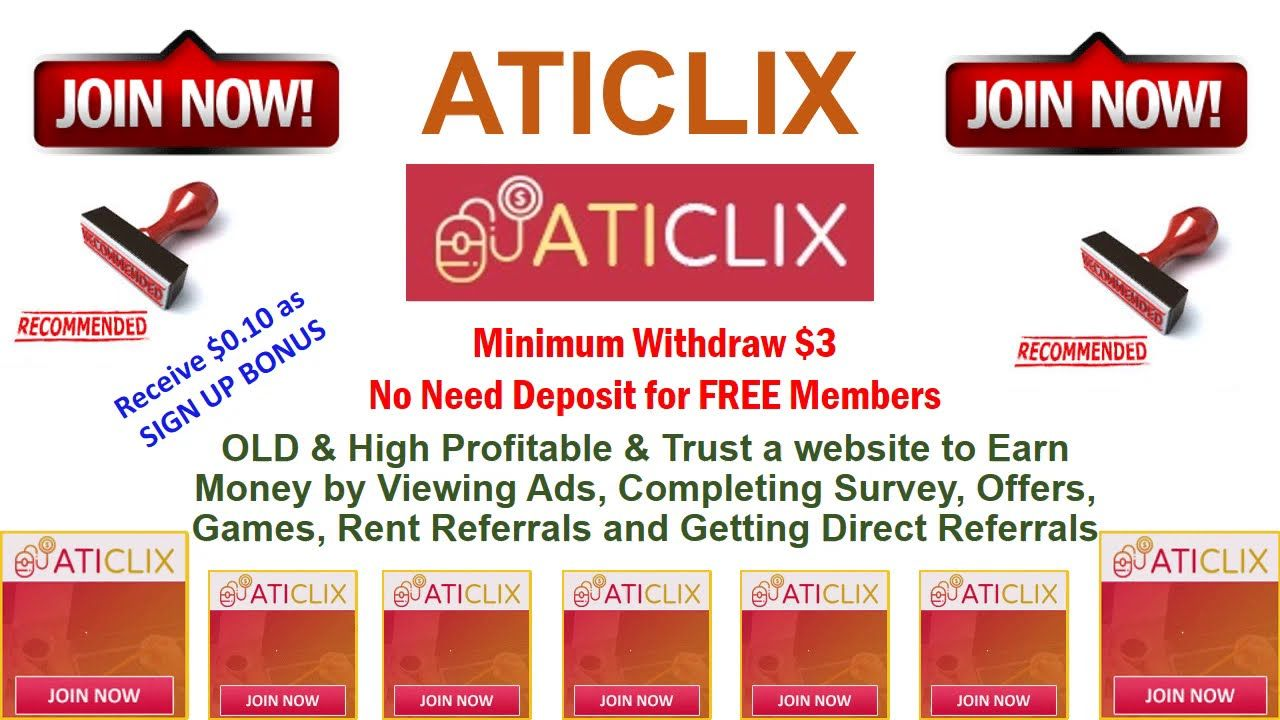 ATICLIX - Earn Money Online over $200 Daily | FREE MAKE MONEY ONLINE | PTC Site. #makemoneyonline
