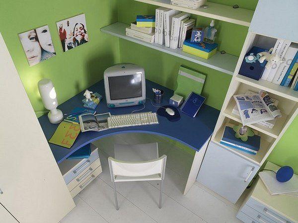 Round Corner Desk Blue Green White Floating Shelves Cabinets Corner Desk Corner Desk Desk Bedroom Office