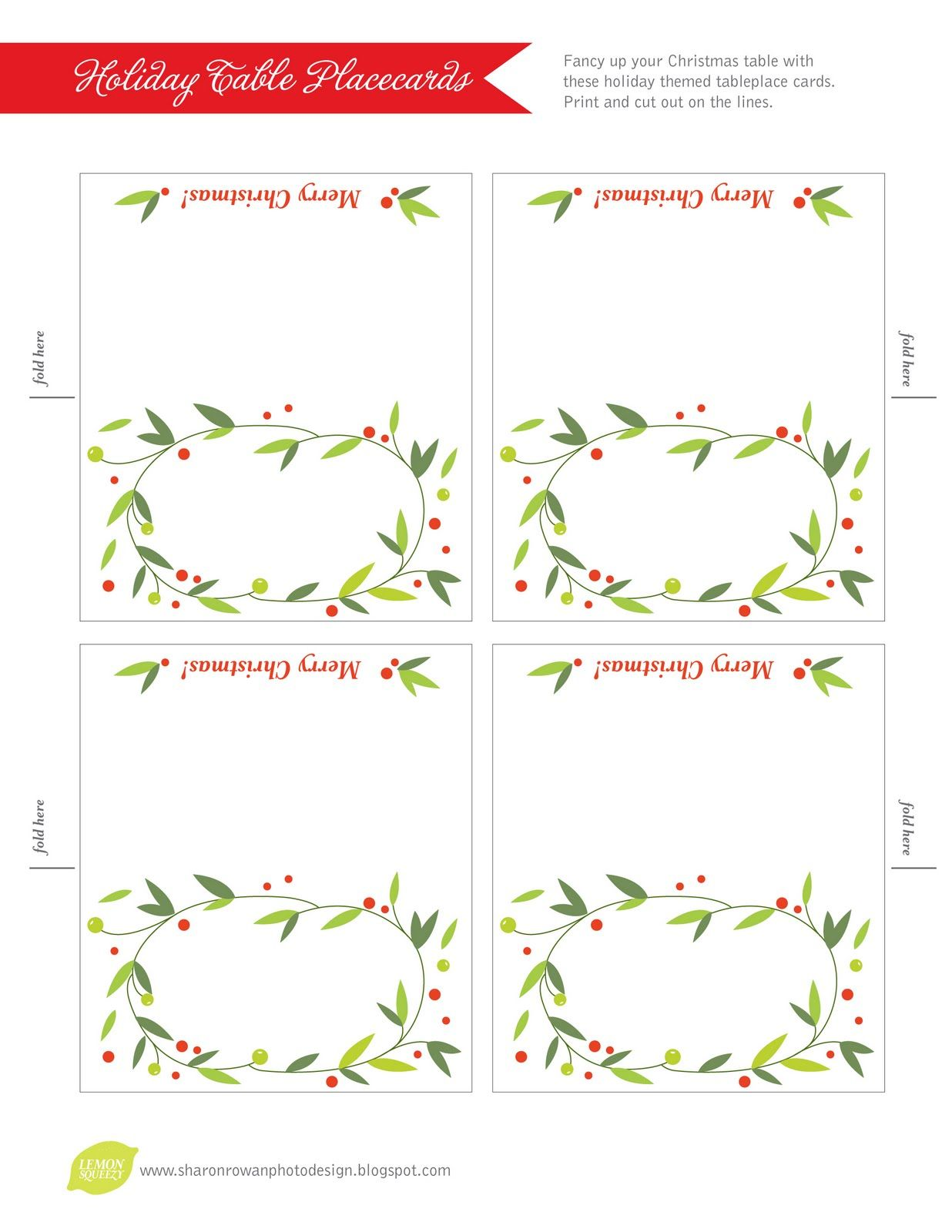 picture relating to Free Printable Christmas Place Cards called no cost printable lemon squeezy: Working day 12: Desired destination playing cards Hard work