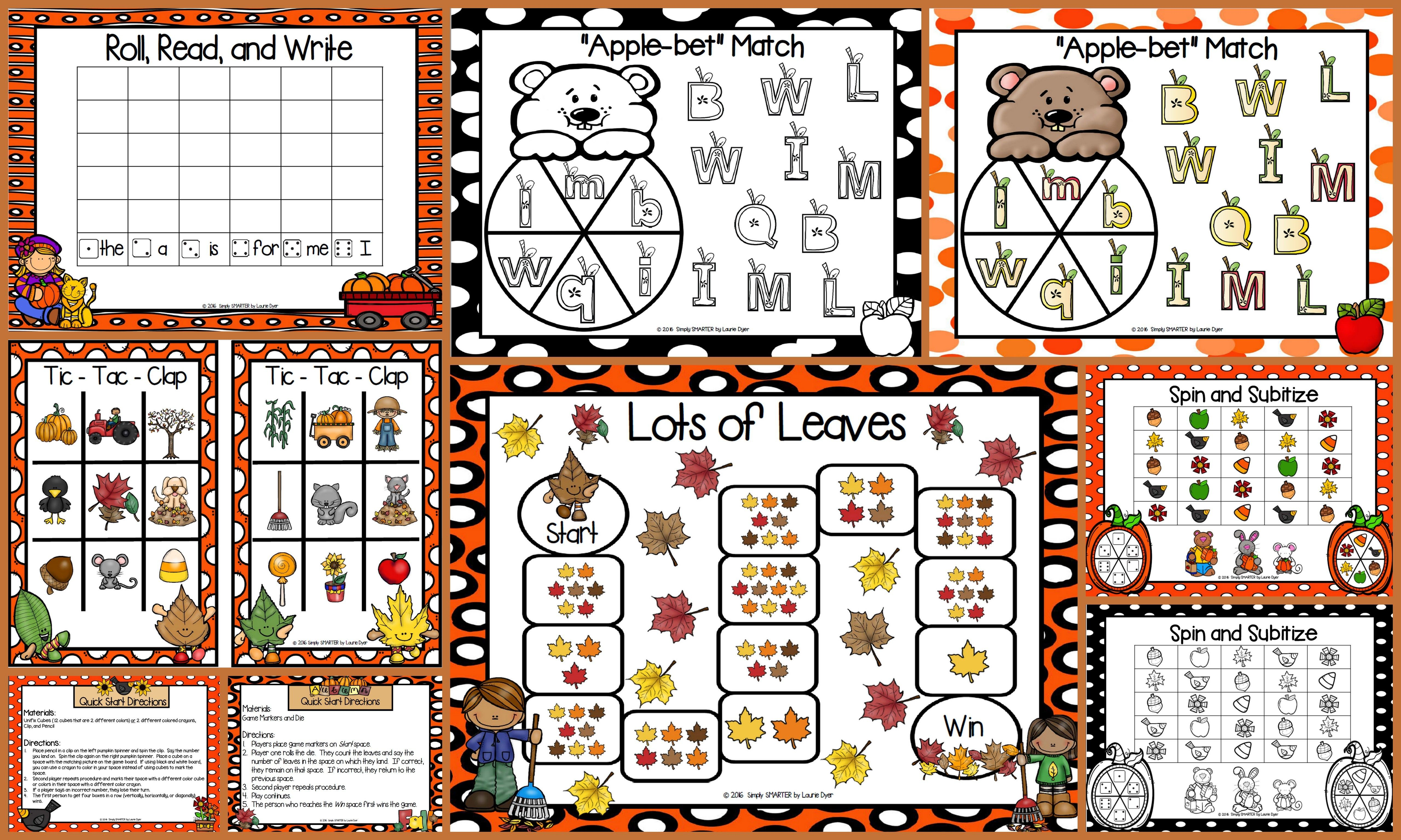 No Prep Autumn Themed Math And Literacy Games Bundle