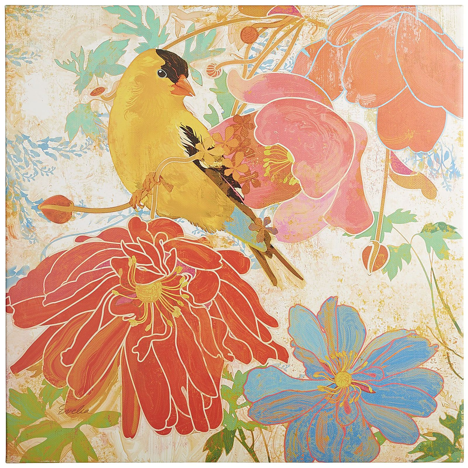 Perched among brightly colored blooms, our yellow bird blends in beautifully. Of course, against a neutral wall or mantel, our vibrant print really pops. And it's crafted with UV-protected fabric, so this lively scene can flourish indoors or out.