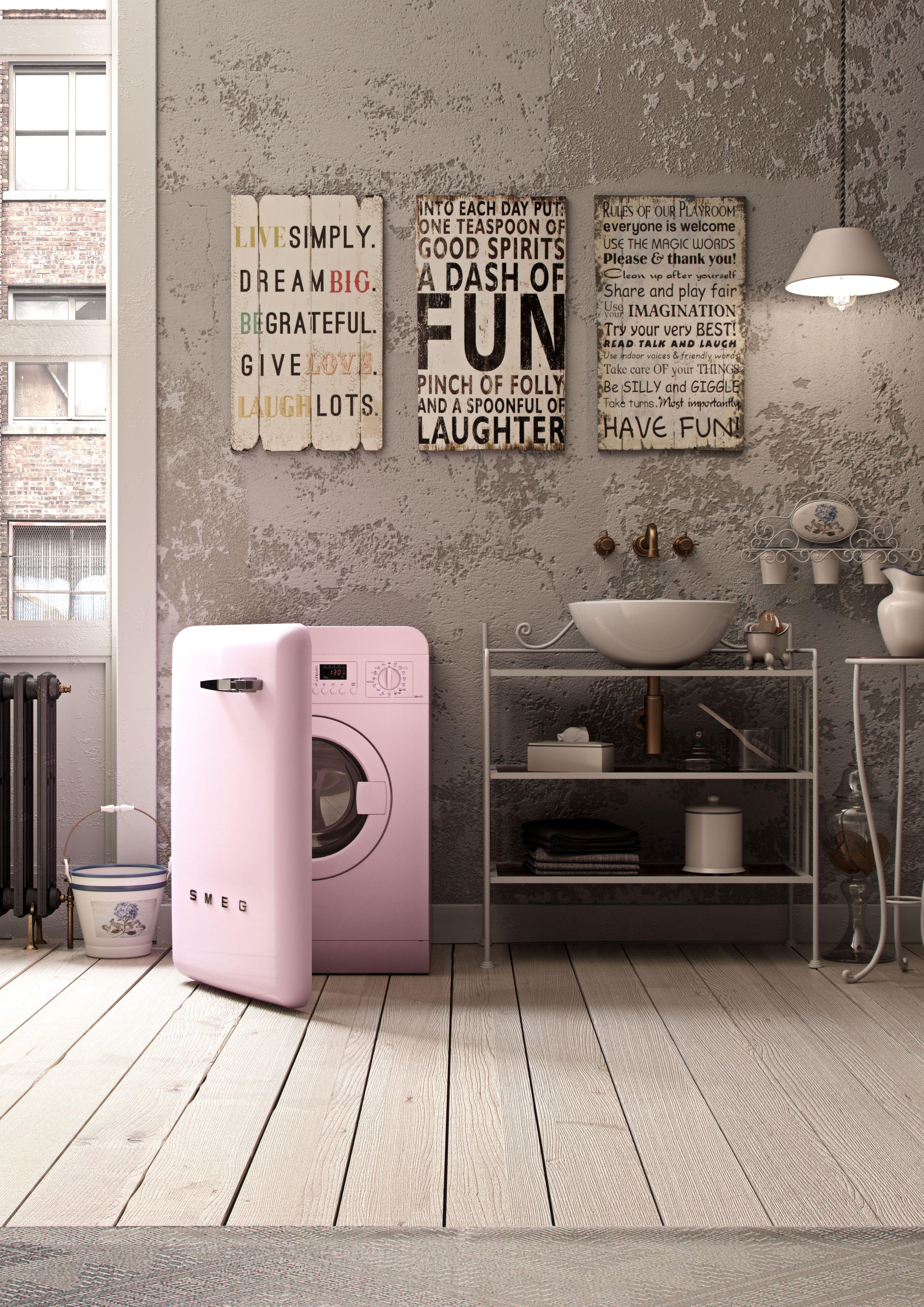 Ideal als stylisches element im bad die modernen waschmaschinen von smeg im retro look der 50er - Badezimmer 50er ...