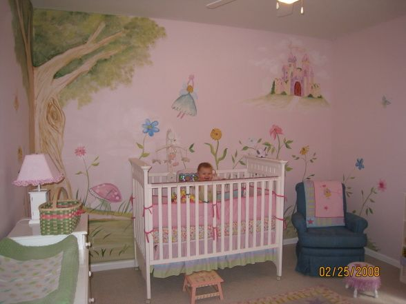 Fairy garden princess nursery mural we decided to use as for Fairy princess bedroom ideas
