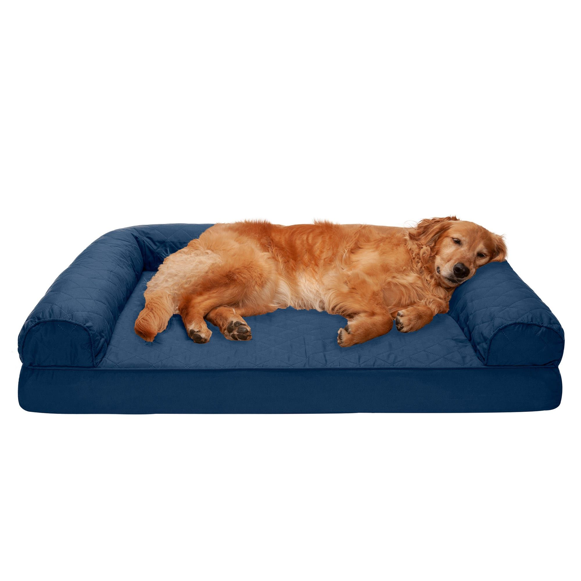 Furhaven Navy Quilted Full Support Sofa Pet Bed 44 L X 35 W X 8 H Petco Pet Sofa Bed Dog Sofa Bed Dog Bed Sizes