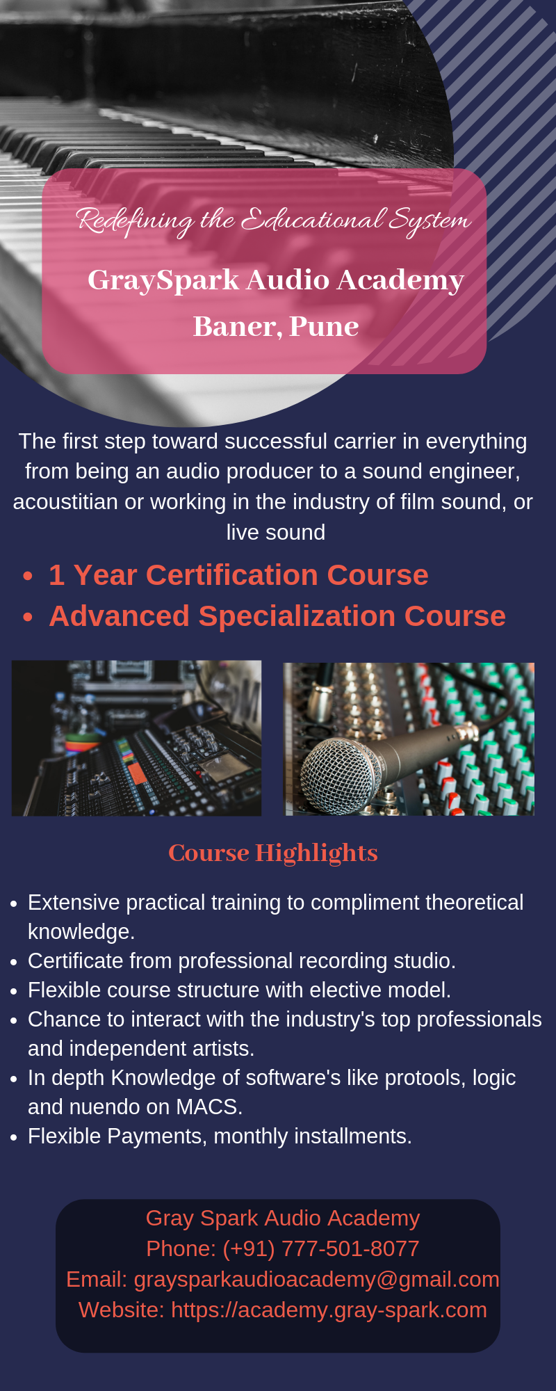 Gray Spark Audio is Sound Engineering Academy located in