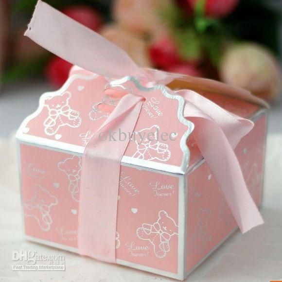 Wholesale Baby Shower   Buy Cute Pink Bear Ribbon Baby Shower Favor Boxes  Birthday Party Gifts
