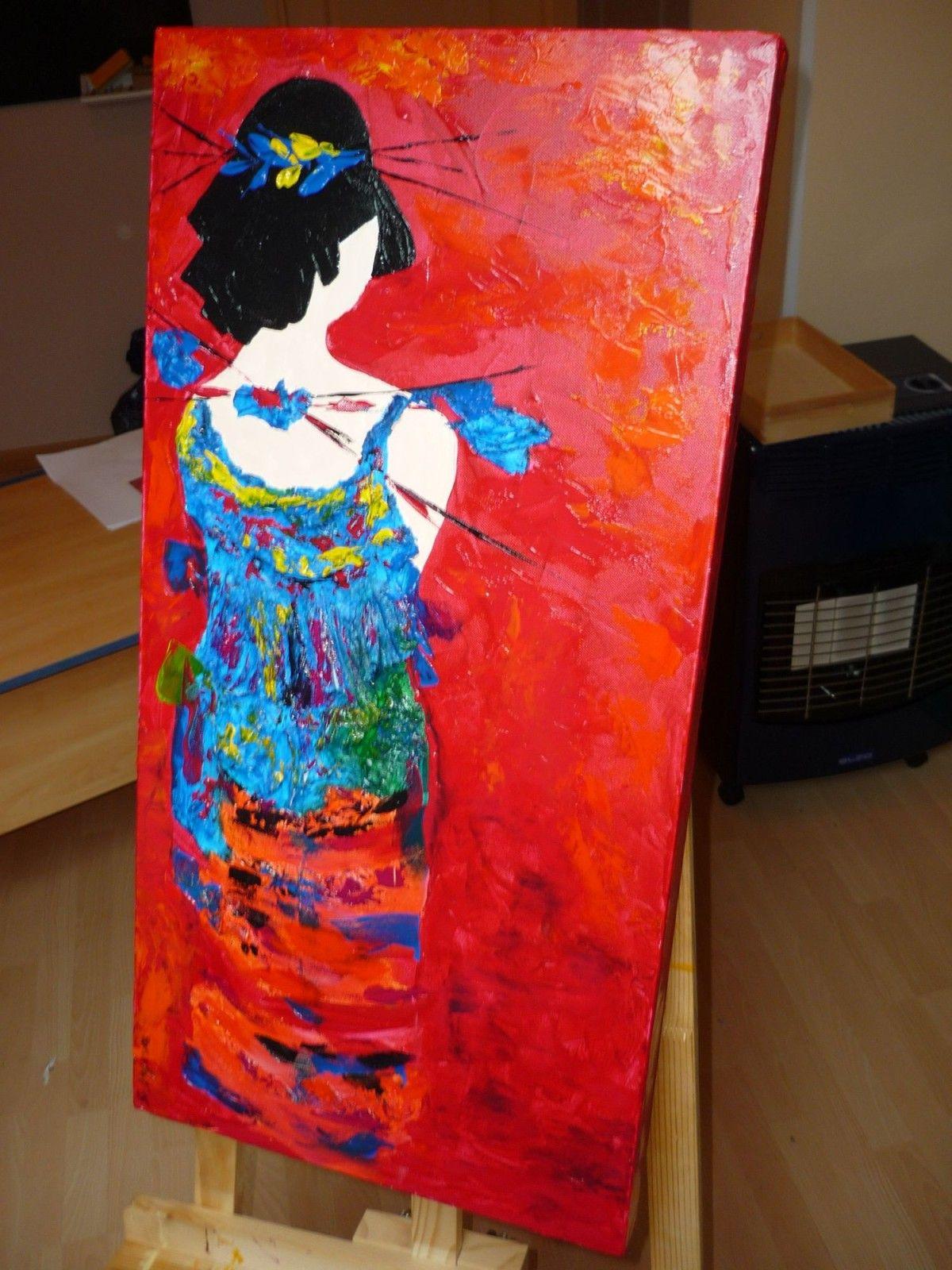 Faire peinture acrylique sur toile recherche google - Peinture metallisee murale ...