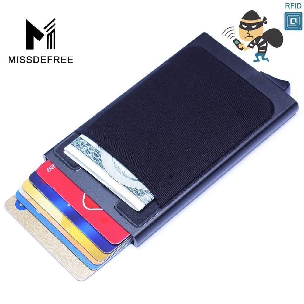 Genuine//Faux Leather Credit Card Holder RFID Blocking Pop-up Wallet Money UK