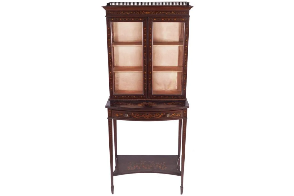Edwardian period mahogany and marquetry cabinet on #edwardianperiod EDWARDIAN PERIOD MAHOGANY AND MARQUETRY CABINET ON STAND, CIRCA 1890 #edwardianperiod