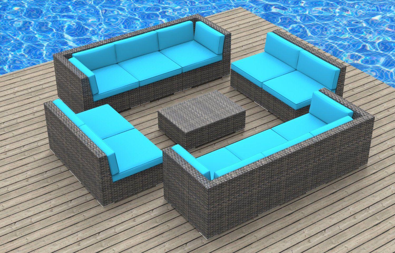 Amazon Com Urban Furnishing Bermuda 11pc Modern Outdoor Backyard Wicker Rattan Patio Furni Outdoor Wicker Furniture Outdoor Sofa Sets Modern Patio Furniture