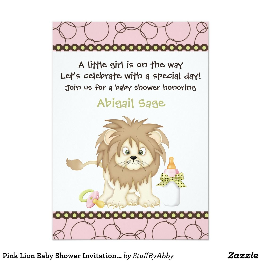 Pink Lion Baby Shower Invitation for Girls | Lion baby shower and ...
