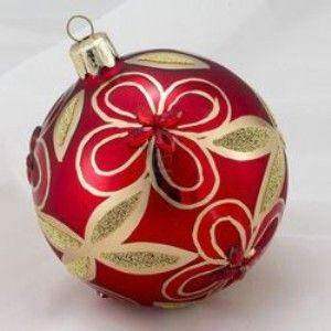 80mm Red Jewel Glass Decorative Balls 4pc Red Jewel Decor Glass