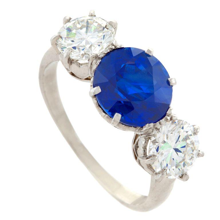 Burma Sapphire, Diamond and Platinum Ring