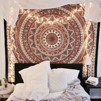 Home Accessory Mandala Wall Hanging Hippie Hobo Bedroom Tumblr Boho Decor Inspo Beautiful Brown Lights
