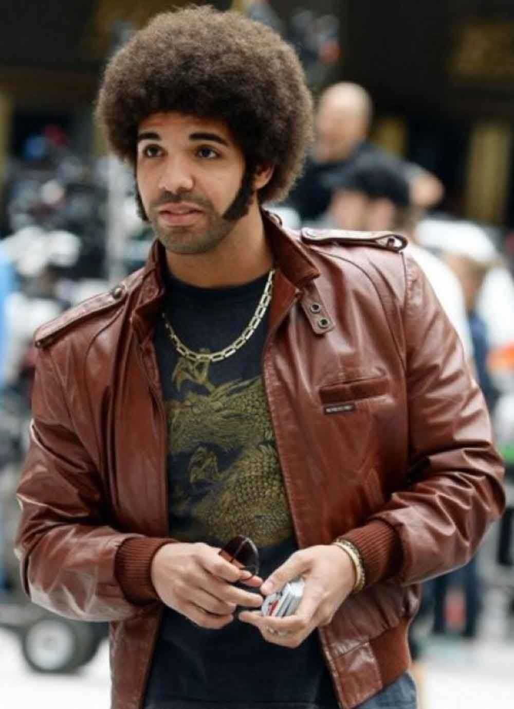 Anchorman 2 The Legend Continues Aubrey Graham Drake Leather Jacket Celebrities Leather Jacket Dark Brown Leather Jacket Leather Jacket [ 1378 x 1000 Pixel ]
