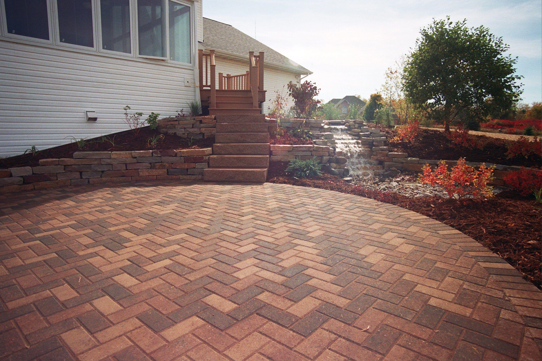 Brick fishbone designed patio. The Vande Hey Company, Inc.