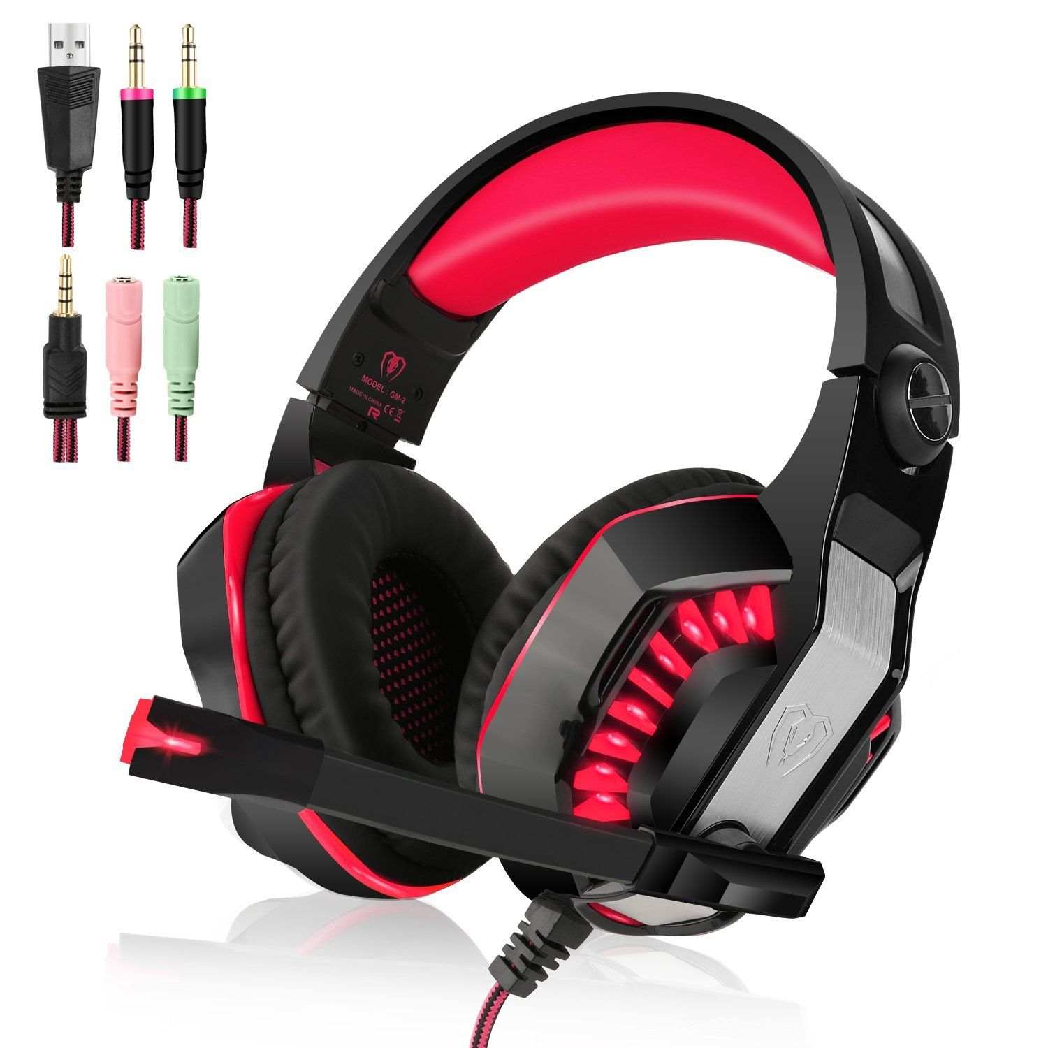 Beexcellent Gm 2 Gaming Headset With Mic Sound Clarity Noise Reduction Headphones With Led Lights Soft Comfy Ear Pads Y Splitter For Pl Xbox One Headset
